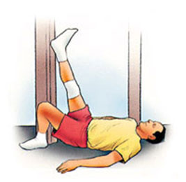 Hamstring Stretch,  Supine at Wall